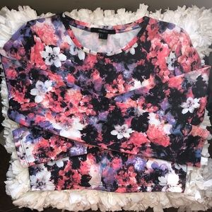 Floral Long Sleeve Crop Top
